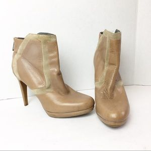 SZ 11 Tan Calvin Klein Two Tone Leather Booties